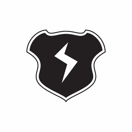 combatant: Shield with lightning bolt icon in simple style isolated on white background. War symbol