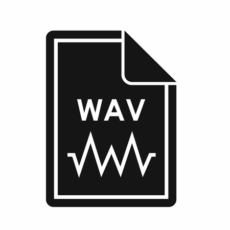 wav: File WAV icon in simple style isolated on white background. Document type symbol Illustration