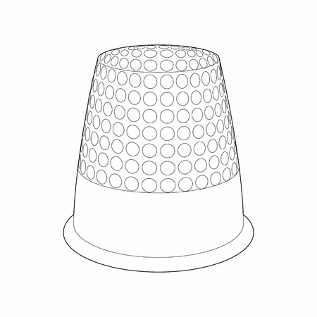 thimble: Thimble icon in outline style isolated on white background. Accessory for sewing symbol Illustration