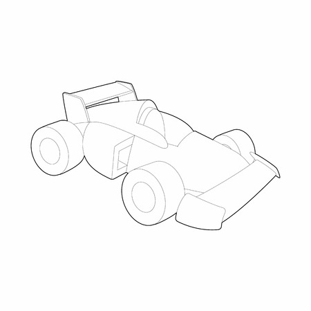 spoiler: Race car icon in outline style isolated on white background. Racing symbol Illustration