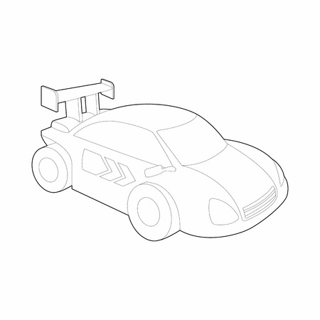 rally: Race car for rally icon in outline style isolated on white background. Racing symbol