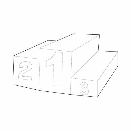 rewarding: Prize podium icon in outline style isolated on white background. Rewarding symbol Illustration