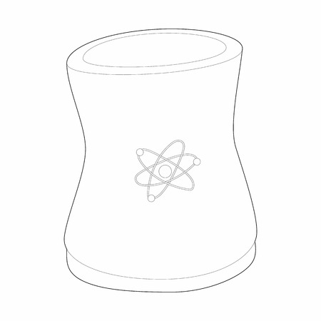 substances: Cylinder for storage of substances icon in outline style isolated on white background. Manufacture symbol Illustration