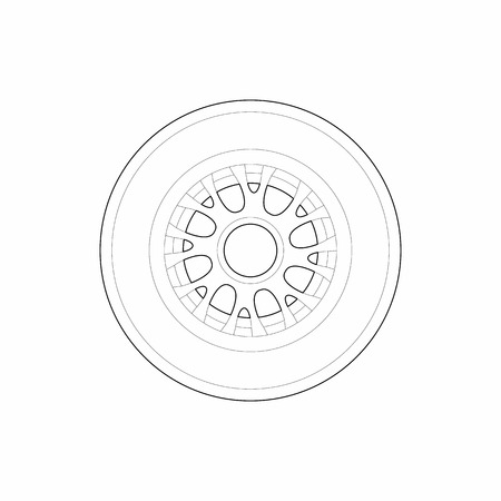 racing wheel: Racing wheel icon in outline style isolated on white background. Auto parts symbol Illustration