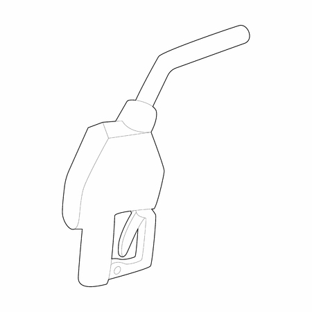 refuel: Gun for refueling icon in outline style isolated on white background. Refuel symbol