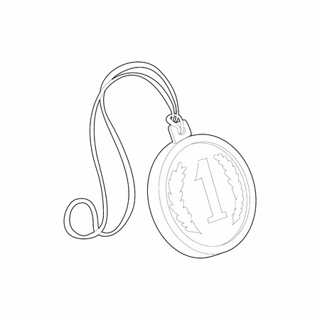 rewarding: Medal for first place icon in outline style isolated on white background. Rewarding symbol