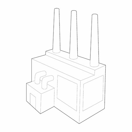 chemical plant: Chemical plant icon in outline style isolated on white background. Manufacture symbol Illustration