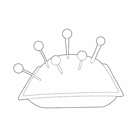 to pierce: Cushion with pins icon in outline style isolated on white background. Sewing symbol Illustration