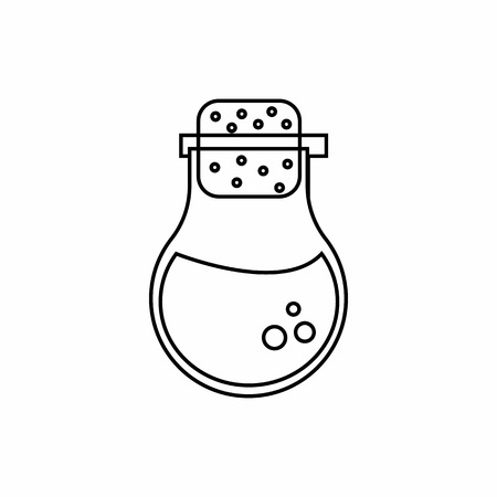 hypothesis: Flask of liquid icon in outline style isolated on white background. Experiments symbol