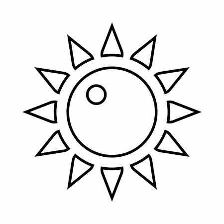 stuffy: Sun icon in outline style isolated on white background. Heat symbol
