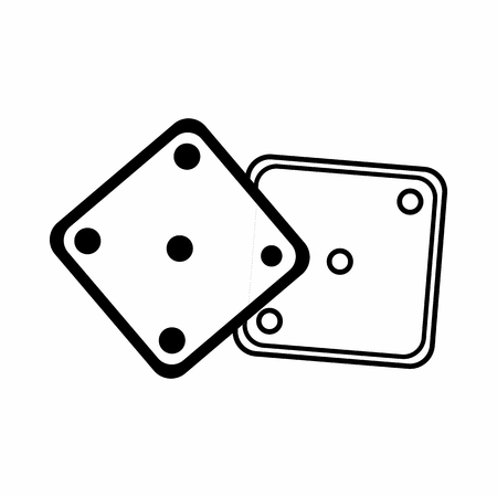 Dice icon in outline style isolated on white background. Game symbol
