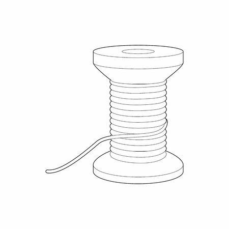Spool of thread icon in outline style isolated on white background. Sewing symbol