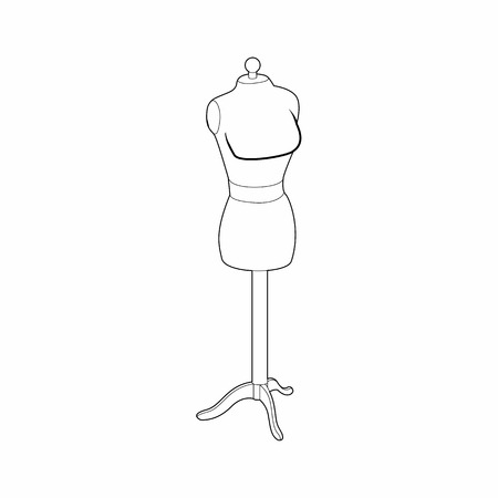 Sewing mannequin icon in outline style isolated on white background. Fitting symbol