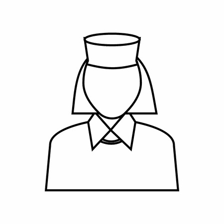 Nurse icon in outline style isolated on white background. Medicine symbol
