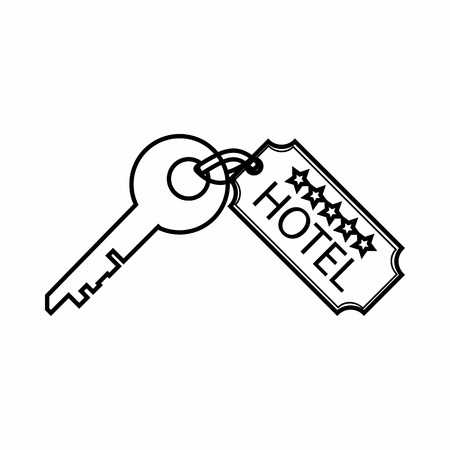 Room key at hotel icon in outline style isolated on white background. Open symbol Illustration