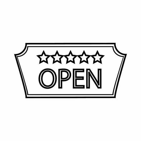 5 door: Signage of hotel Open icon in outline style isolated on white background. Signboard symbol