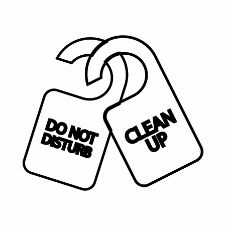 to clean up: Tag do not disturb and clean up icon in outline style isolated on white background. Label symbol Illustration