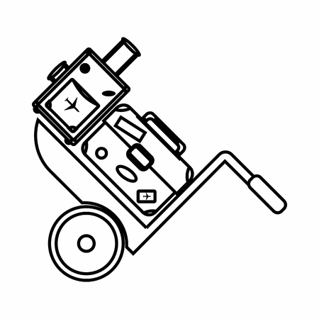 passenger compartment: Truck with luggage icon in outline style isolated on white background. Transportation symbol