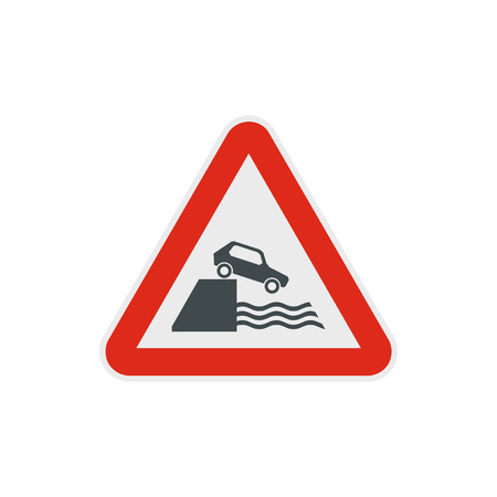 riverbank: Riverbank traffic sign icon in flat style on a white background