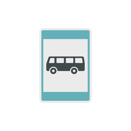 autobus: Bus stop sign icon in flat style on a white background