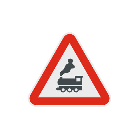 Warning sign railway crossing without barrier icon in flat style on a white background