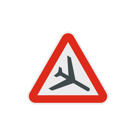 aerodrome: Warning sign of low flying aircraft icon in flat style on a white background
