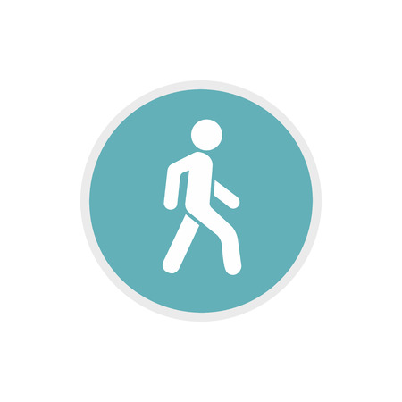 pedestrians: Pedestrians only road sign icon in flat style on a white background