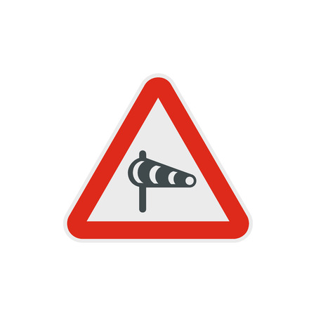 Sign warning about cross wind from the left icon in flat style on a white background Illustration