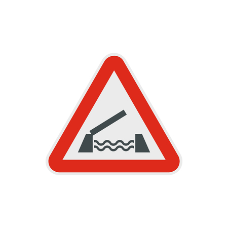 Lifting bridge warning sign icon in flat style on a white background Illustration