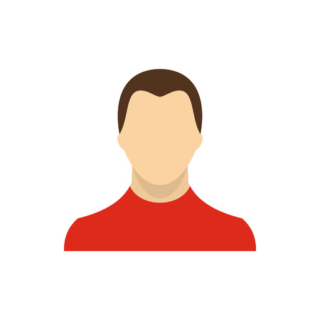 man standing alone: Man in red sweater icon in flat style on a white background