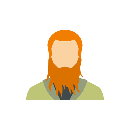 Red bearded man icon in flat style on a white background