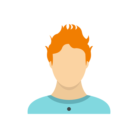 hoody: Man with red hair icon in flat style on a white background Illustration