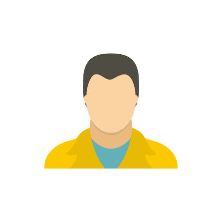 yellow jacket: Man in a yellow jacket icon in flat style on a white background