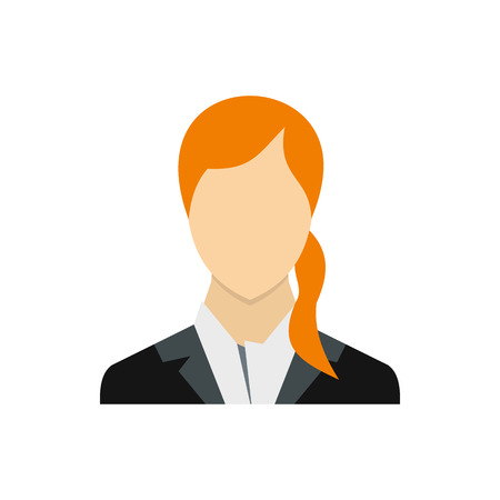 long red hair: Woman with long red hair icon in flat style on a white background