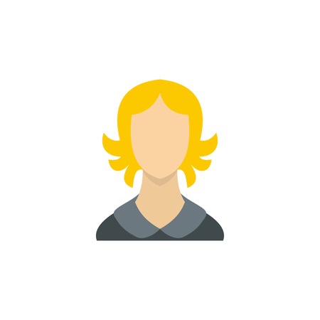 blond hair: Woman with blond hair icon in flat style on a white background