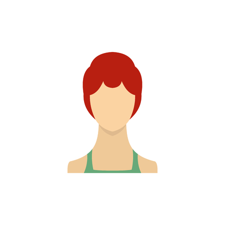 sleek: Woman with sleek hair and a bun icon in flat style on a white background Illustration