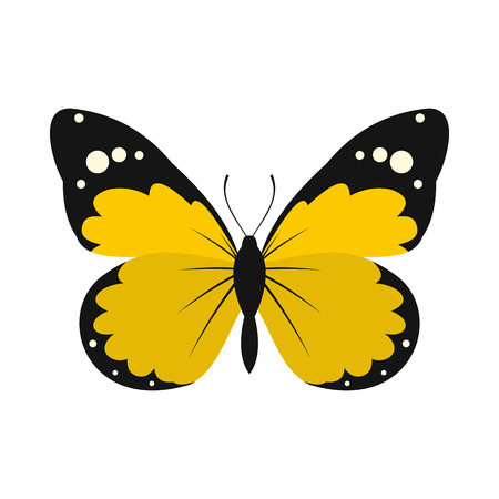 yellow butterfly: Yellow butterfly icon in flat style on a white background