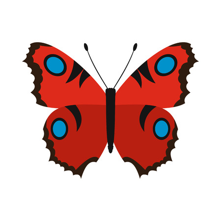 red butterfly: Red butterfly icon in flat style on a white background