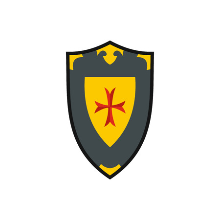 iron ribbon: Heraldic shield icon in flat style on a white background