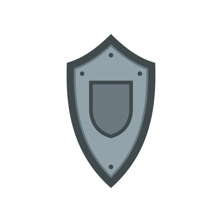 medieval shield: Metal medieval shield icon in flat style on a white background Illustration