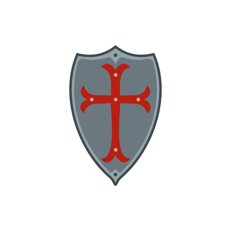 iron cross emblem: Medieval shield with red cross icon in flat style on a white background
