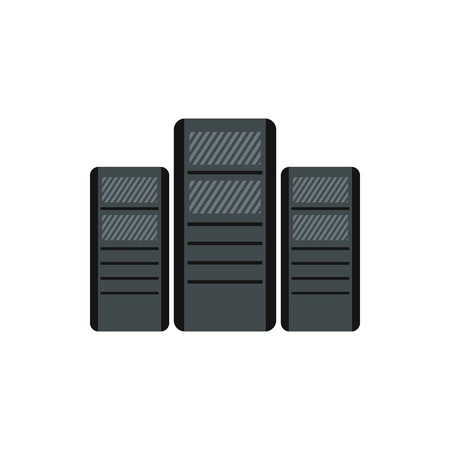pc case: Computer system units icon in flat style on a white background