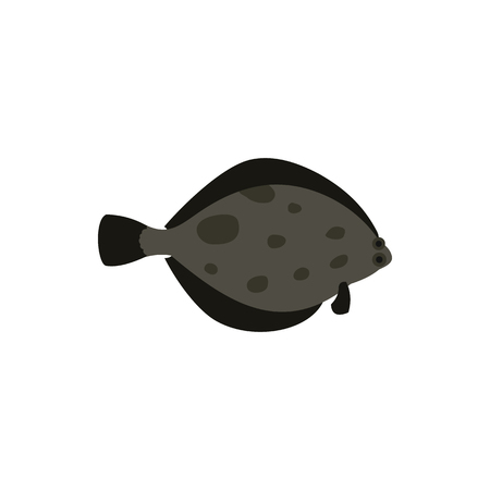 plaice: Flounder fish icon in flat style on a white background Illustration