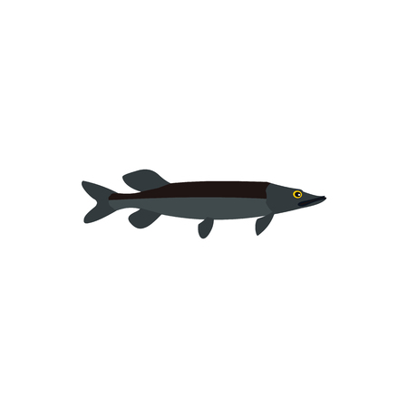 coldblooded: Saury fish icon in flat style on a white background