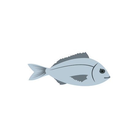 aquaculture: Bream fish icon in flat style on a white background