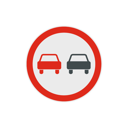 two lane highway: No overtaking road traffic sign icon in flat style on a white background Illustration