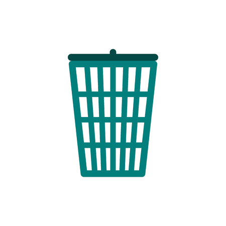 discard: Green trash basket icon in flat style isolated on white background Illustration