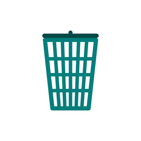 cesto basura: Verde icono de la papelera en el estilo plano aislado en el fondo blanco