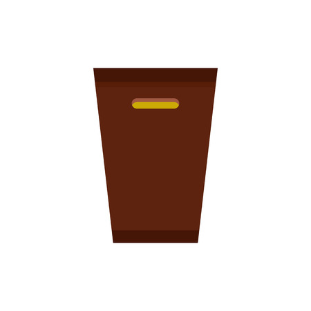 tilting: Brown trash bin icon in flat style isolated on white background