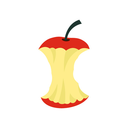apple core: Apple core icon in flat style isolated on white background. Fruit symbol Illustration